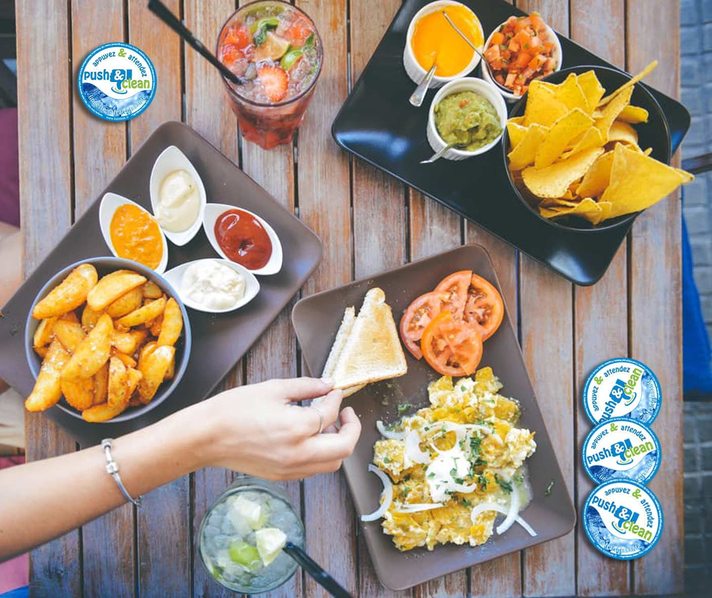 Food salad restaurant pushclean